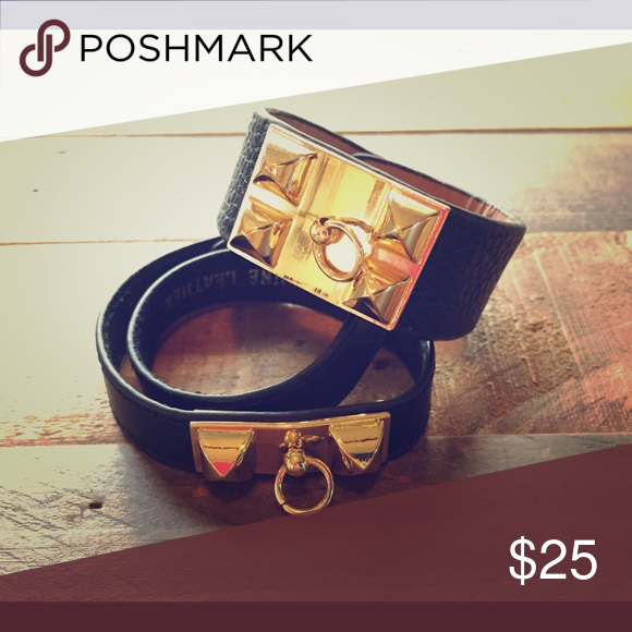 2 Black Leather Cuff Bracelets with Gold Design! 2 Black Leather Cuff Bracelets with Gold Design! One strap is a double wrap around! Genuine leather. Add some edge to your look. Jewelry Bracelets