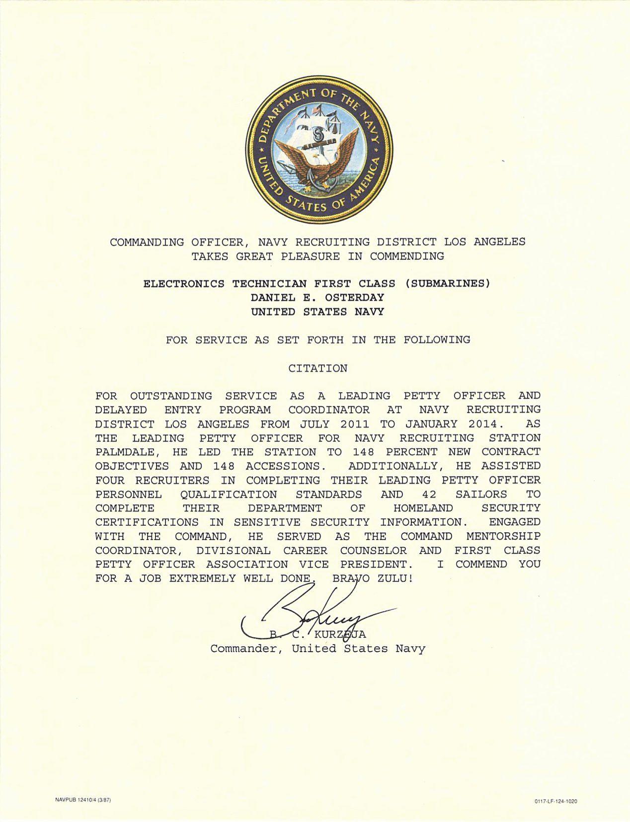 Certificate Of Commendation Usmc Template Elegant Letter Of Mendation Templates Usmc Lettering