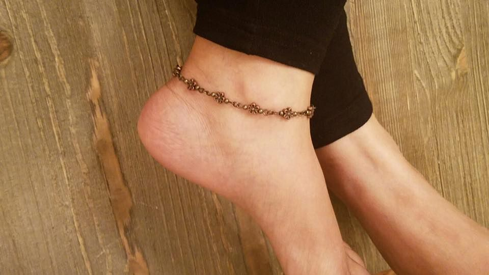 anklet chain lotus gold flower up receive anklets silver charm flowe to and rolo sterling plated with over solid