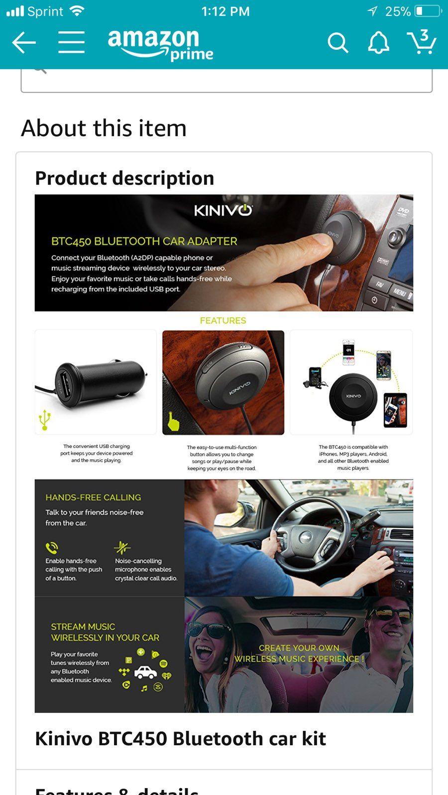 Kinivo BTC450 Bluetooth Handsfree Carkit - Mercari: The