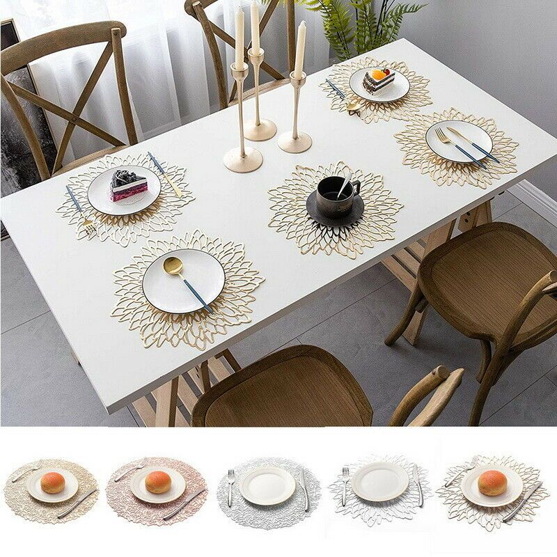 Floral Placemat Coaster Insulation Table Mats Pads Pvc Hollowed Out Table Non Sl Ebay Coffee Table Mat Glass Dining Table Decor Glass Dining Table