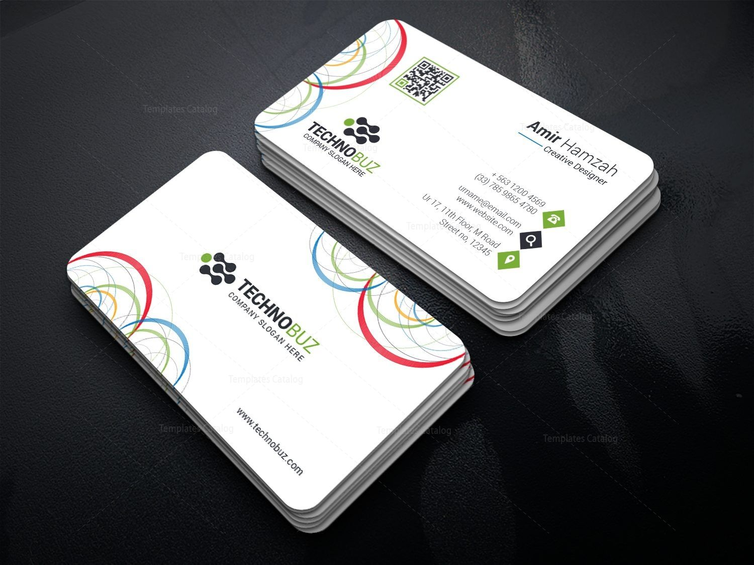 Circle Premium Business Card Template 000812   Graphic Template     Circle Premium Business Card Template 000812
