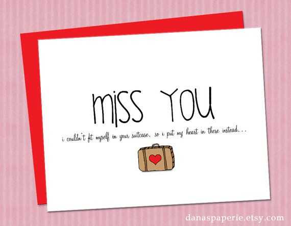 I Put My Heart In Your Suitcase I Miss You Card Miss You Cards Cards