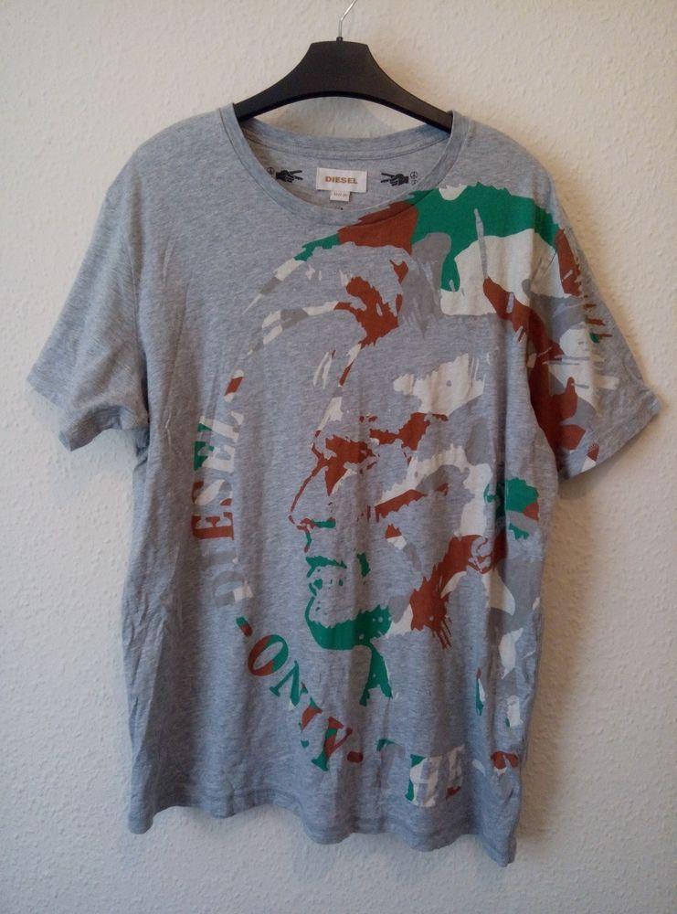 9ba80ef86 Diesel Men's T Shirt Grey Camo Large Mohawk Print Crew Neck Size XL ...