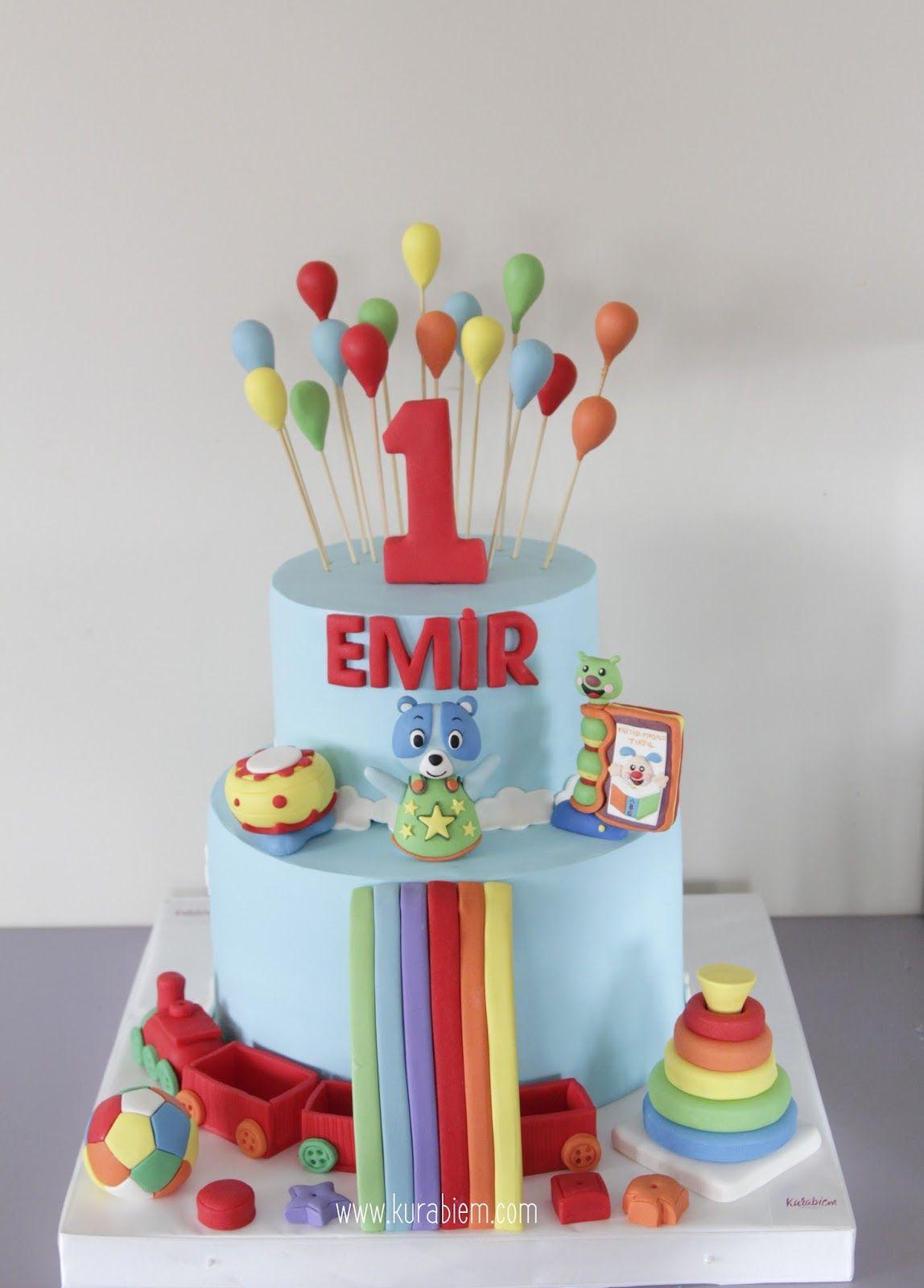 Toys Cake First Birthday Cake Oyuncak Pasta Balonlu Pasta
