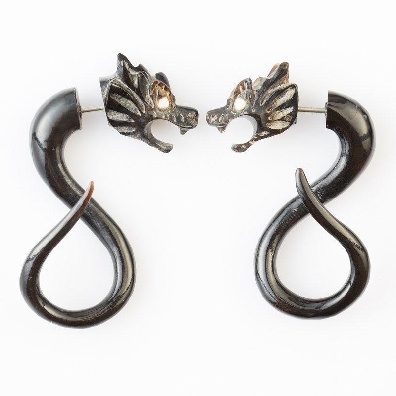 Fake Gauge Earrings - Horn Tribal Earrings - Dragon ...