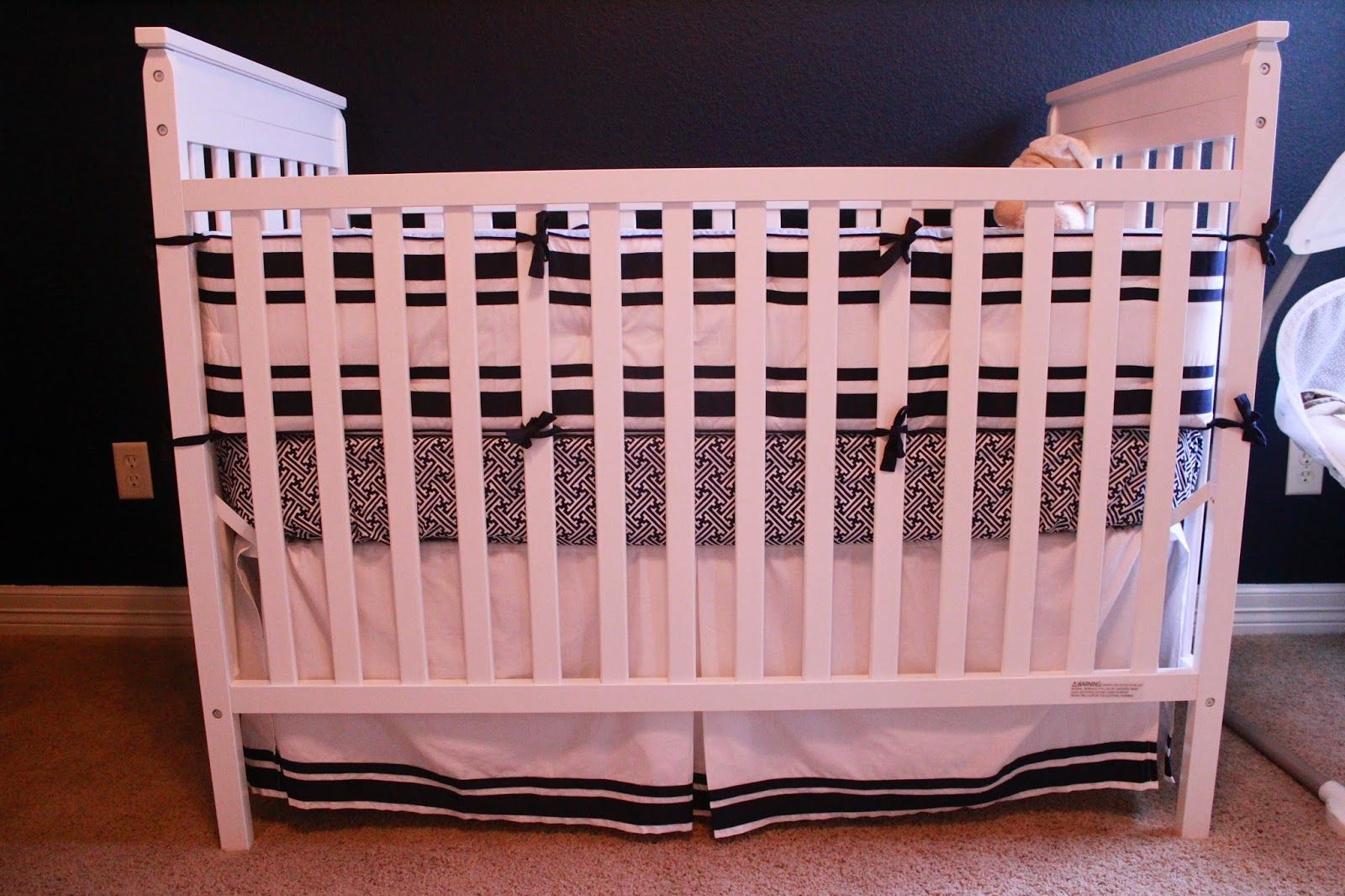 Grant's Navy & White Nursery Pottery barn crib bedding