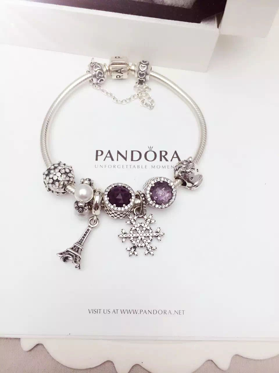 50  Off     219 Pandora Charm Bracelet White Black Purple
