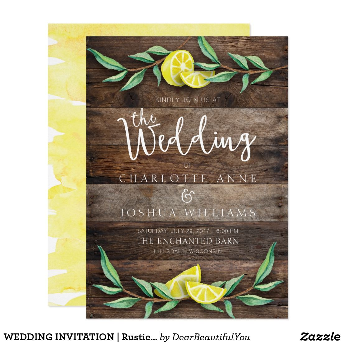 WEDDING INVITATION | Rustic Wood Lemon Watercolor Celebrate your ...