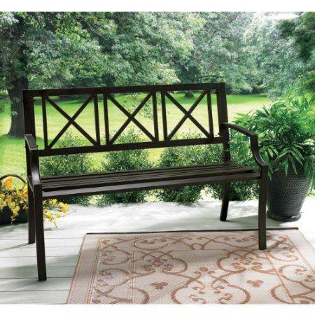 Amazon Com Living Accents Lexington Steel Park Bench Patio Lawn Garden Risa Steinkraus Patio Benches Bench Metal Outdoor Furniture