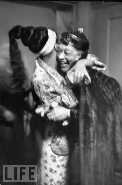 """Original caption: """"Josephine Baker (L) receiving hug fr. columnist & friend Nora Ray Holt in her dressing room after her show at the Strand theater during her US tour."""" Photo: Alfred Eisenstaedt. Life magazine. Mar 10, 1951  SCREAMED when I saw this picture!"""