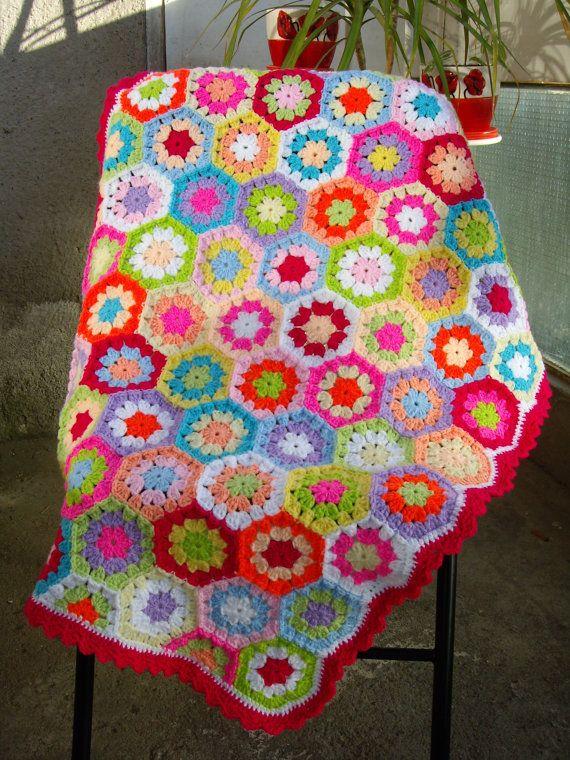 Granny Square Crochet Blanket...Baby Crib Blanket...Colorful ...