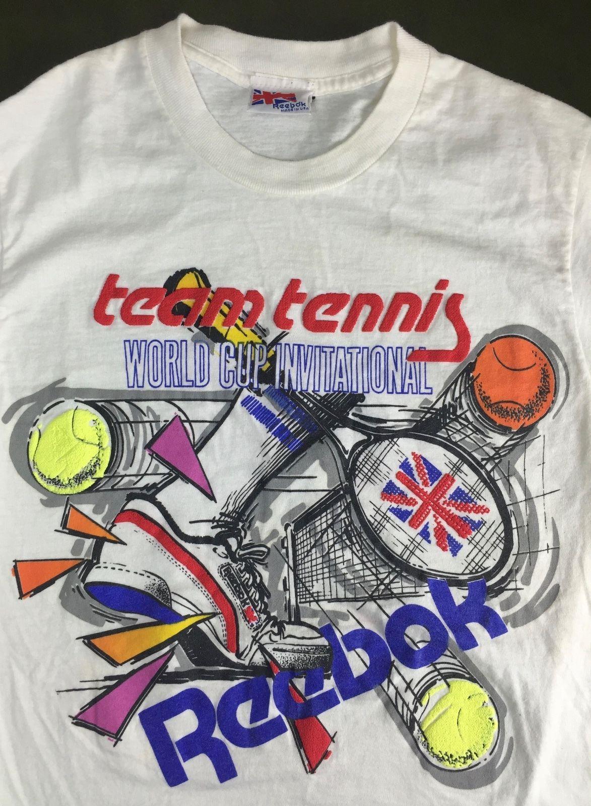 Vintage Mens S/M 80s Reebok Team Tennis World Cup