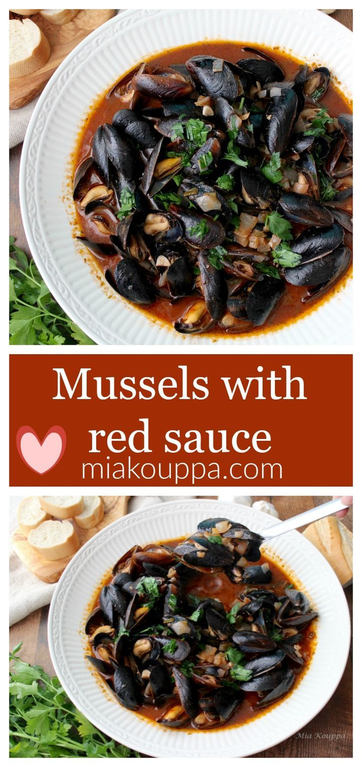 Mussels With Red Sauce Mydia Me Kokkinh Saltsa Recipe Healthy Crockpot Recipes Greek Cooking Red Sauce