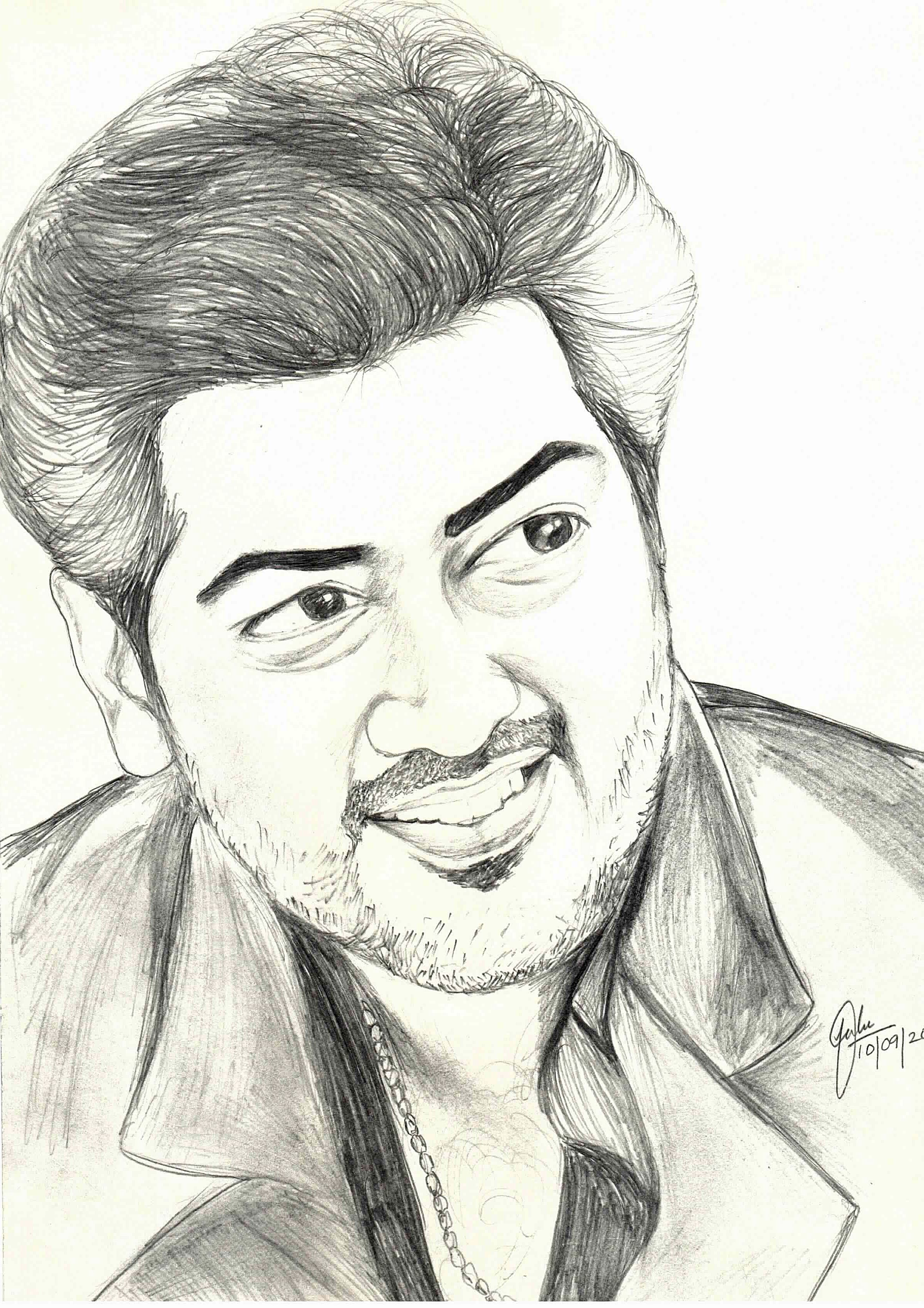 Actor ajith in mankatha pencil drawings graphite drawings color pencil drawings