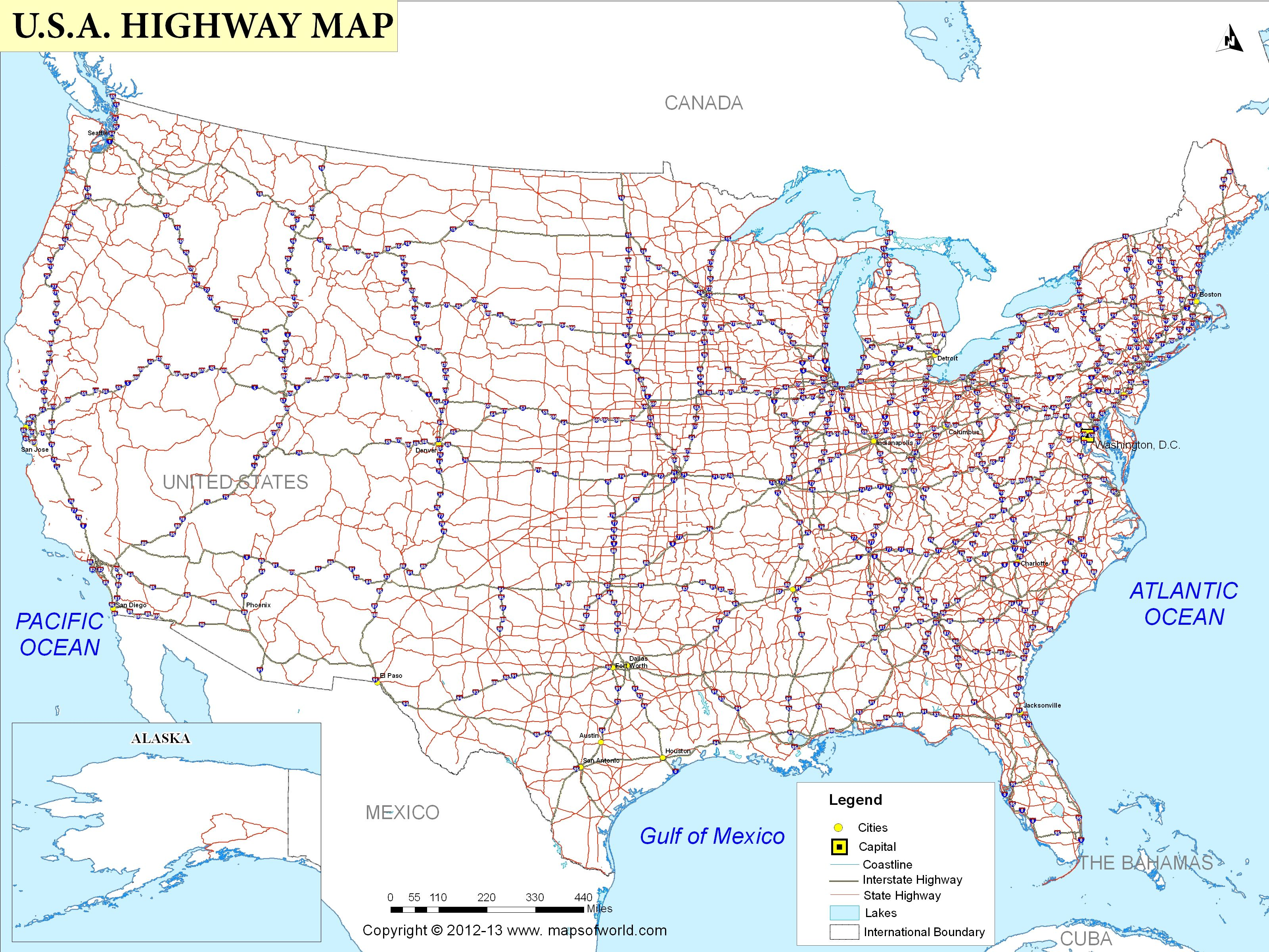 Printable Us Map With Interstate Highways US Highway Map | Usa travel map, Usa map, Highway map