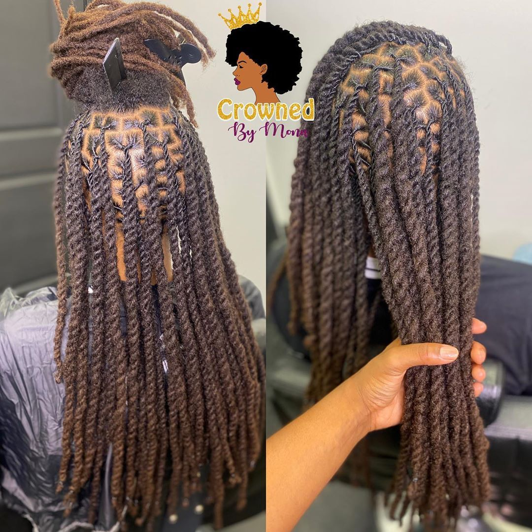 Mona Welcome Royalty Gang On Instagram Loc Retwist W Two Strand Twist On Locs Over 16 2 3 Hours Faux Locs Hairstyles Locs Hairstyles Hair Styles
