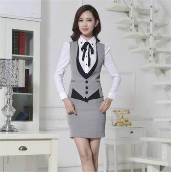 2014 Formal mujeres chaleco con pantalones elegante trajes de pantalones de  la oficina para mujer trajes de negocios mujeres chaleco traje pantalón XXXL 8d5838961016