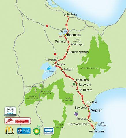 Napier New Zealand Map.Great Kiwi Road Trips Napier Rotorua Follow The Southern Half Of