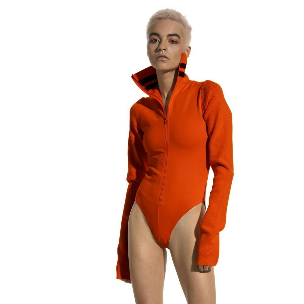 e7981580bb Puma x Fenty by Rihanna Womens Longsleeve Orange Bodysuit Full Zip ...