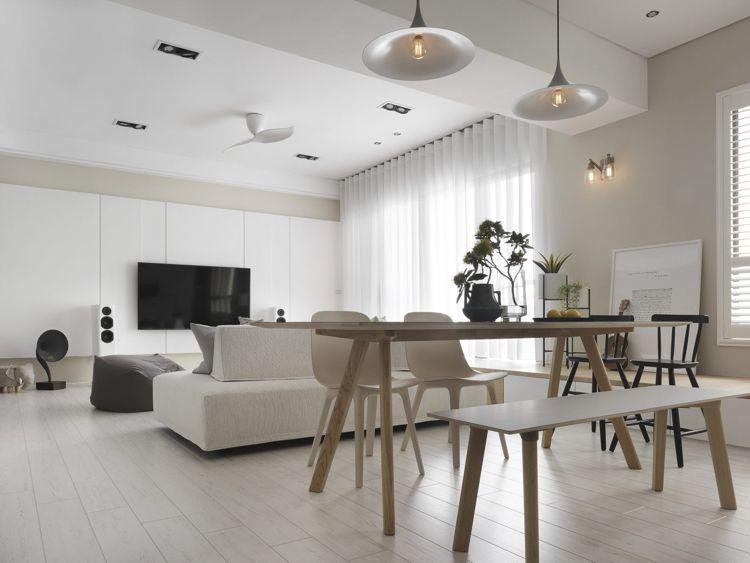 weisses laminat graue schattierungen wohnzimmer esstisch ...