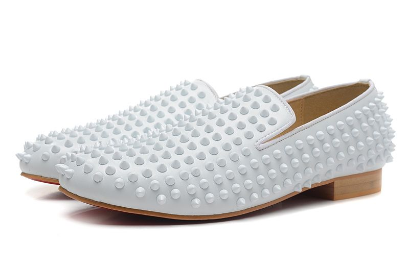Spikes Flat Leather Mens Loafers Shoes