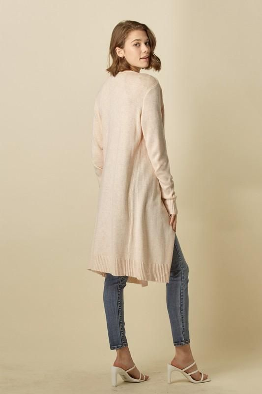Long and Sleek Cardigan: Multiple Colors!! - Peach / Small