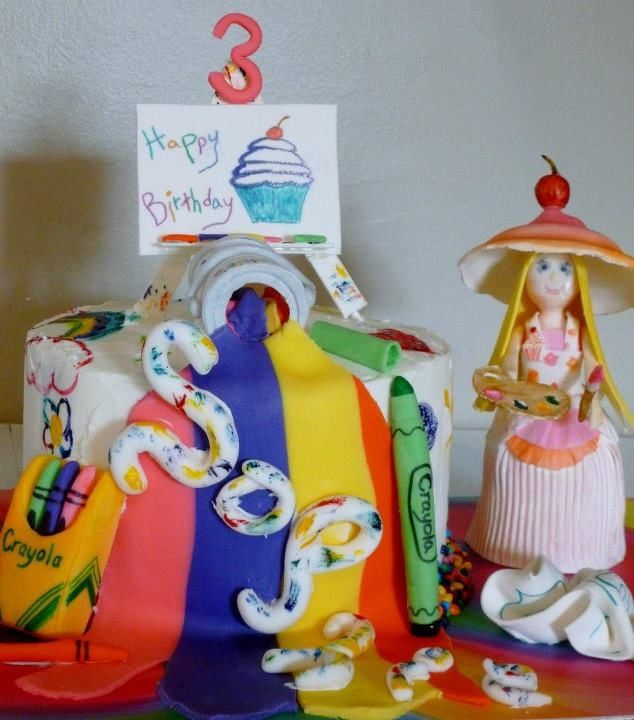 An artist turns 3!!! You can't create without color, markers, crayons, paints, paper and brushes!!