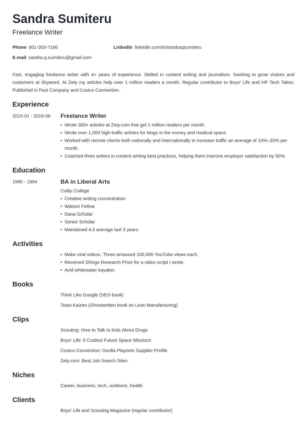 freelance writer resume example template minimo in 2020