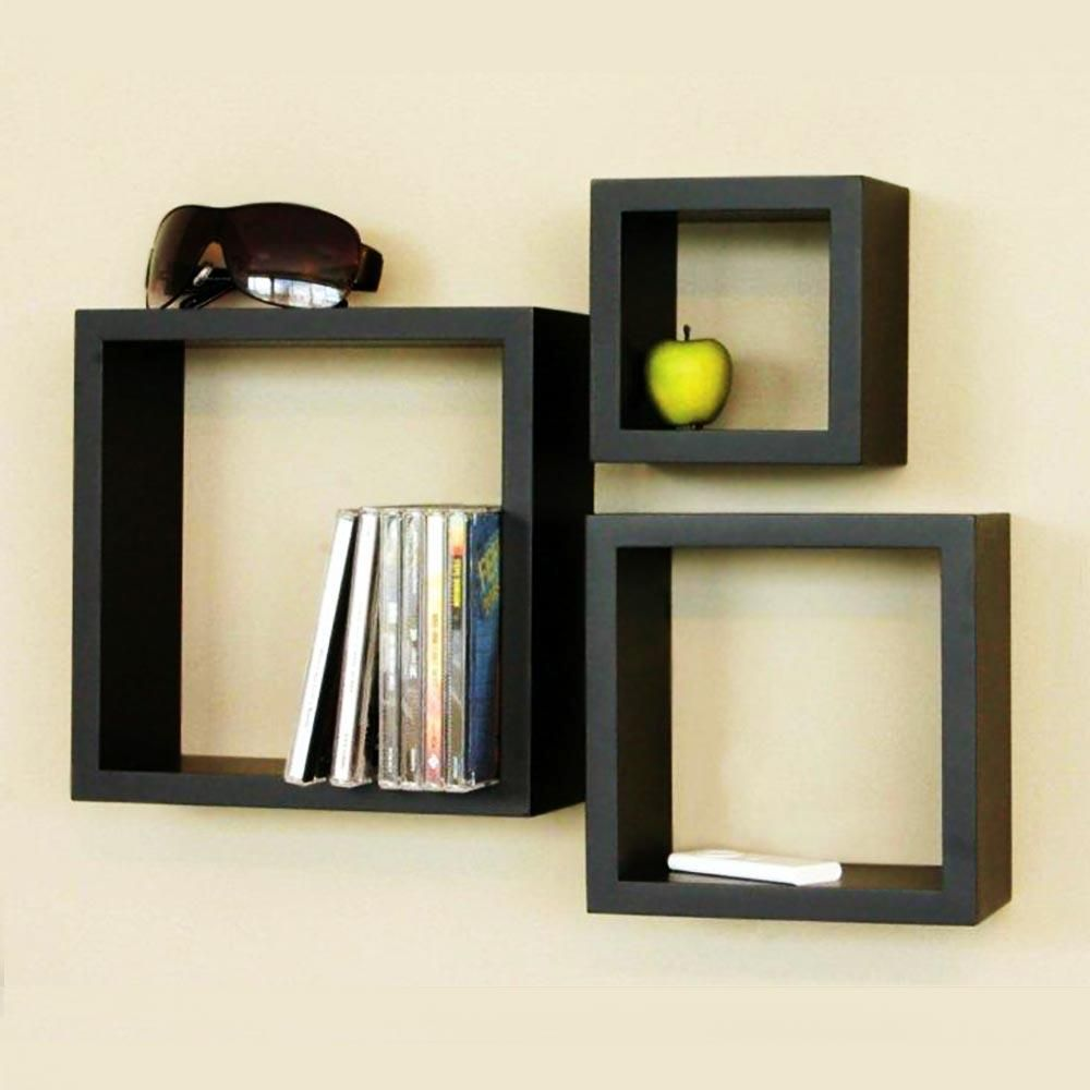 Exceptional 3 Pcs Square Wooden Wall Shelves Black
