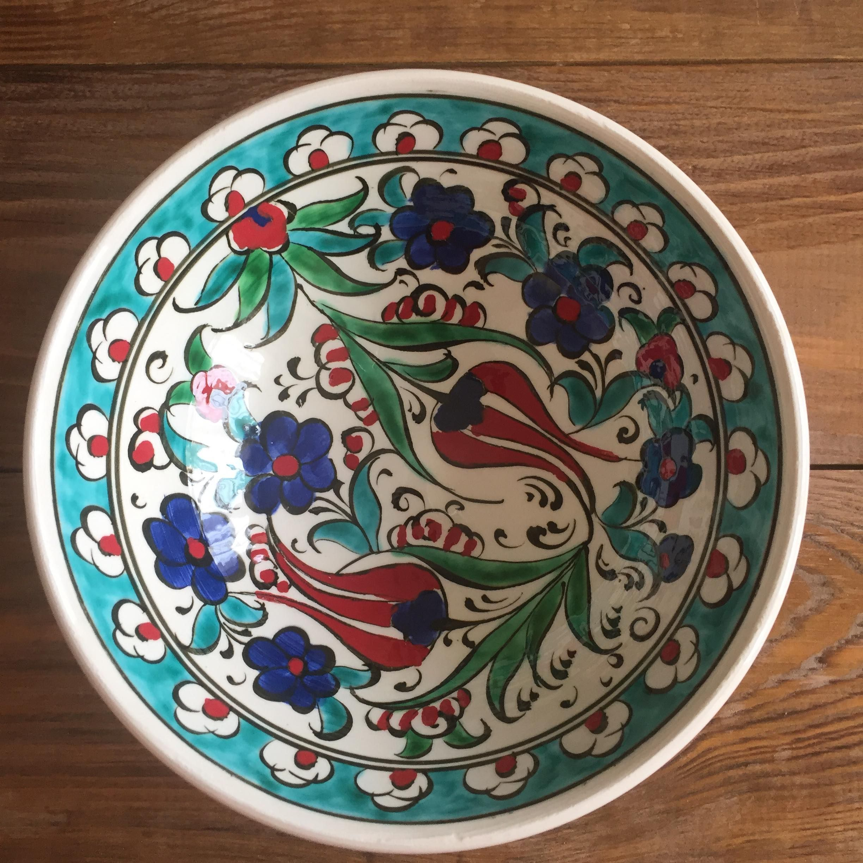 Turkish Ceramic Kutahya Tile Bowl Porcelain Ottoman 16 Cm Diameter Handmade Unique Shasta Daisy Tulip Carnab Turkish Ceramics Plates And Bowls Iznik Tile