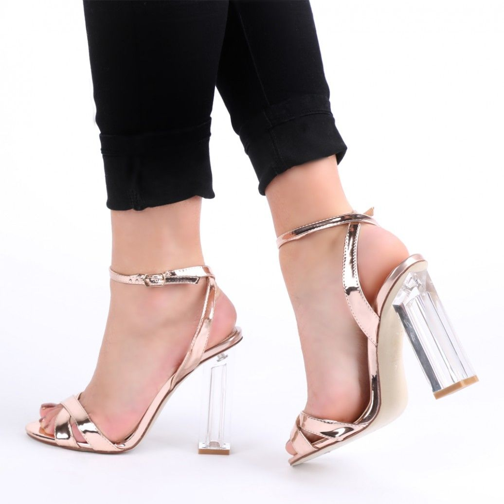 04cb43913f2 Arielle Perspex Heel Cut Out Sandals in Rose Gold