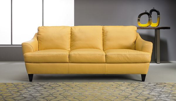 Who Doesn T Love Yellow And A Yellow Leather Sofa Even Better
