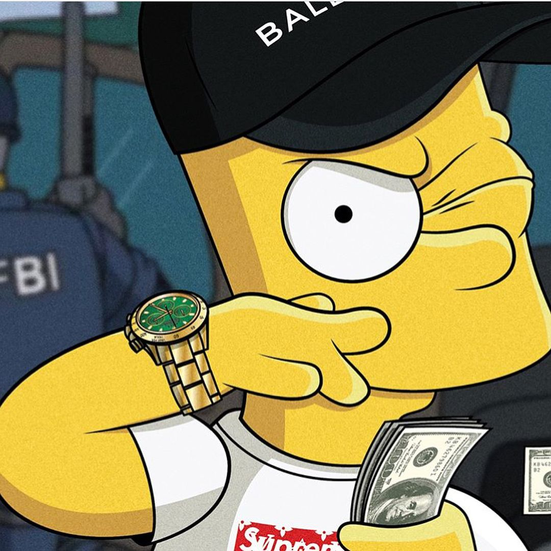 Gangster Drawings Cartoon Simpson Bart
