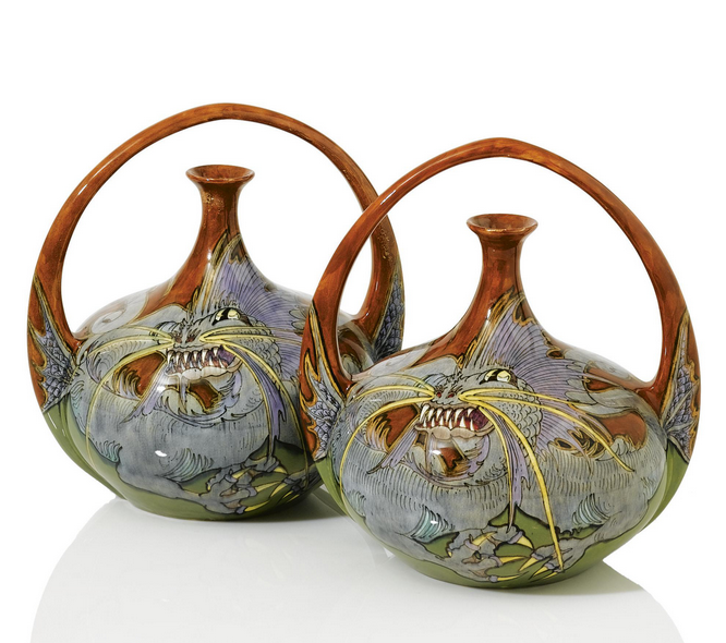 Rozenburg Earthenware Vases 1897 Decorated With Dragons 32 Cm H