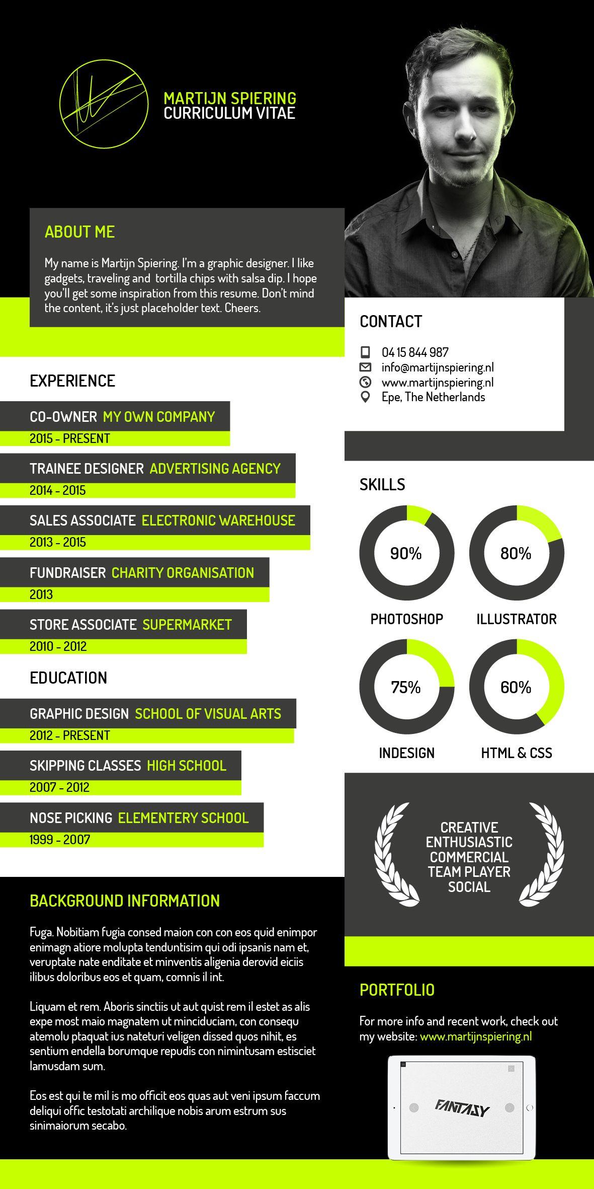 Modern Creative Resume // Unique Curriculum Vitae Inspiration //  Professional Portfolio // Clean