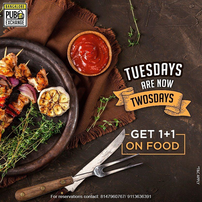 Making your Tuesdays elated! Come along with your peeps and indulge in our 1+1 food offer only at Bangalore Pub Exchange. . . .