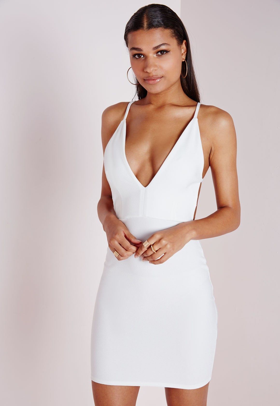 d400ba20e40a Missguided - Crepe Extreme Plunge Strappy Bodycon Dress White ...