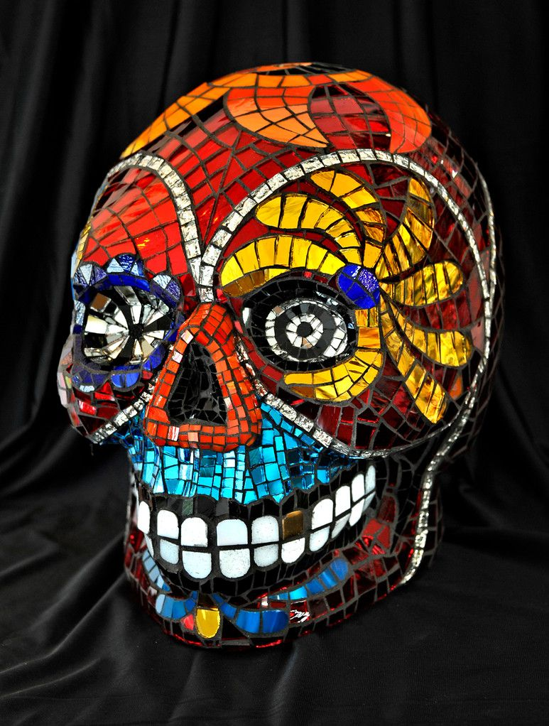 Mirror day of the dead sugar skull mosaic dia de los muertos mosaic art mosaics sculptures sugar skull day of the dead mosaics dailygadgetfo Choice Image