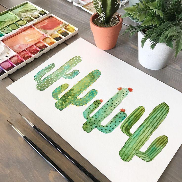 Photo of Kaktus Aquarell, einfache Boho Kaktus, Kaktus Wandkunst, Pflanze Wandkunst, …