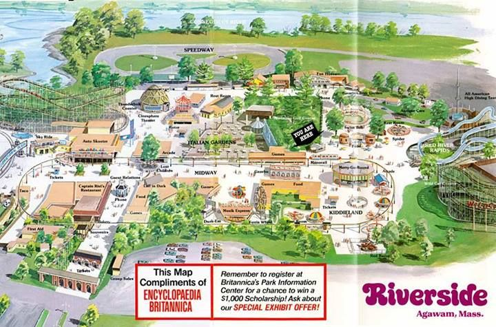 Riverside Map 70s Amusement Park Agawam Riverside