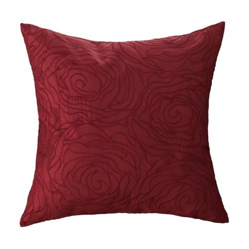 Euphoria CaliTime Contempo Decorative Throw Pillow Cushion Cover Pillowcase  Shell Solid Faux Silk Roses Floral Embroidery Deep Red Color X   Top  Decorative ...