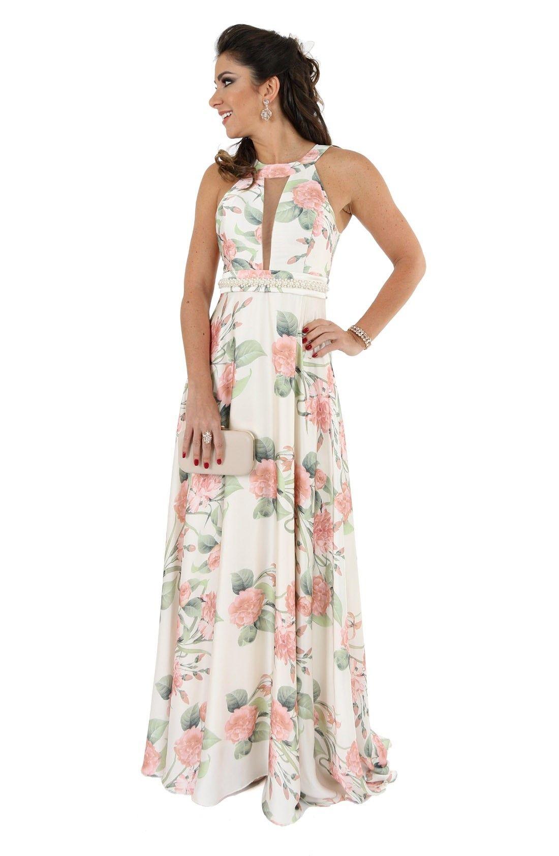 Vestido Plus Size Longo em Renda Guippir e Musseline – Moda