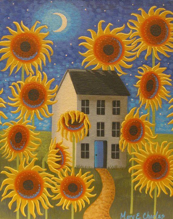 Folk Art Sunflower Painting