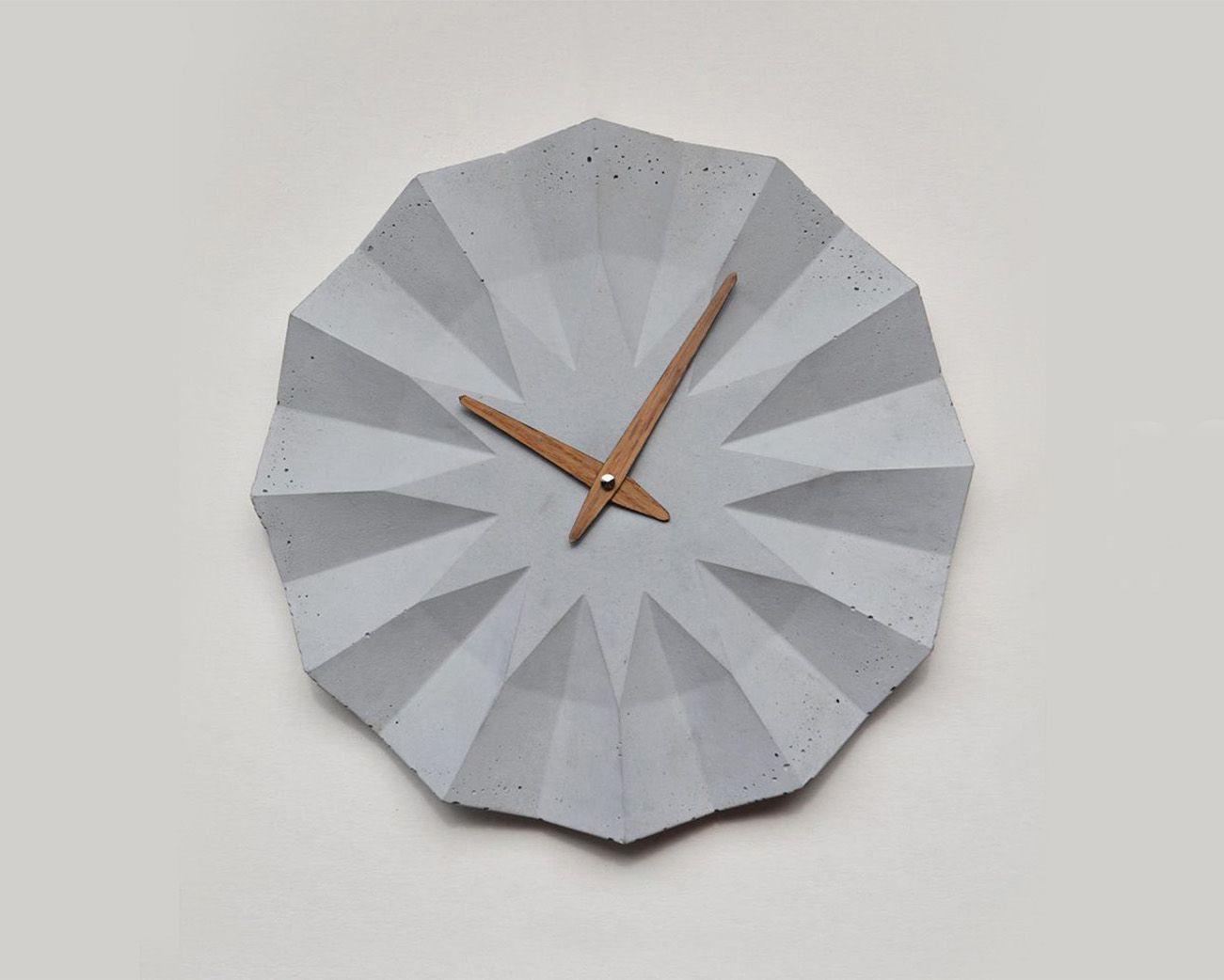 Polygon Concrete Wall Clock Cement Design Wall Clock Concrete Wall