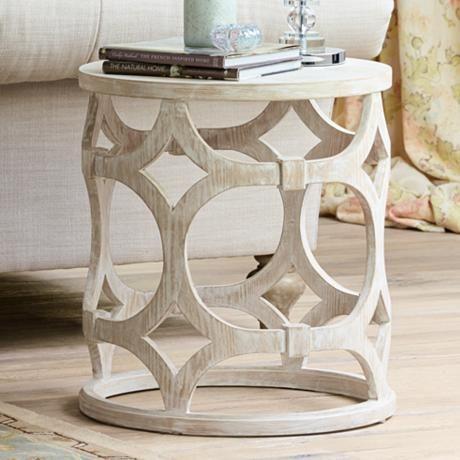 Lanini Whitewash Accent Table Contemporary Accent Tables Accent Table White Wash Table