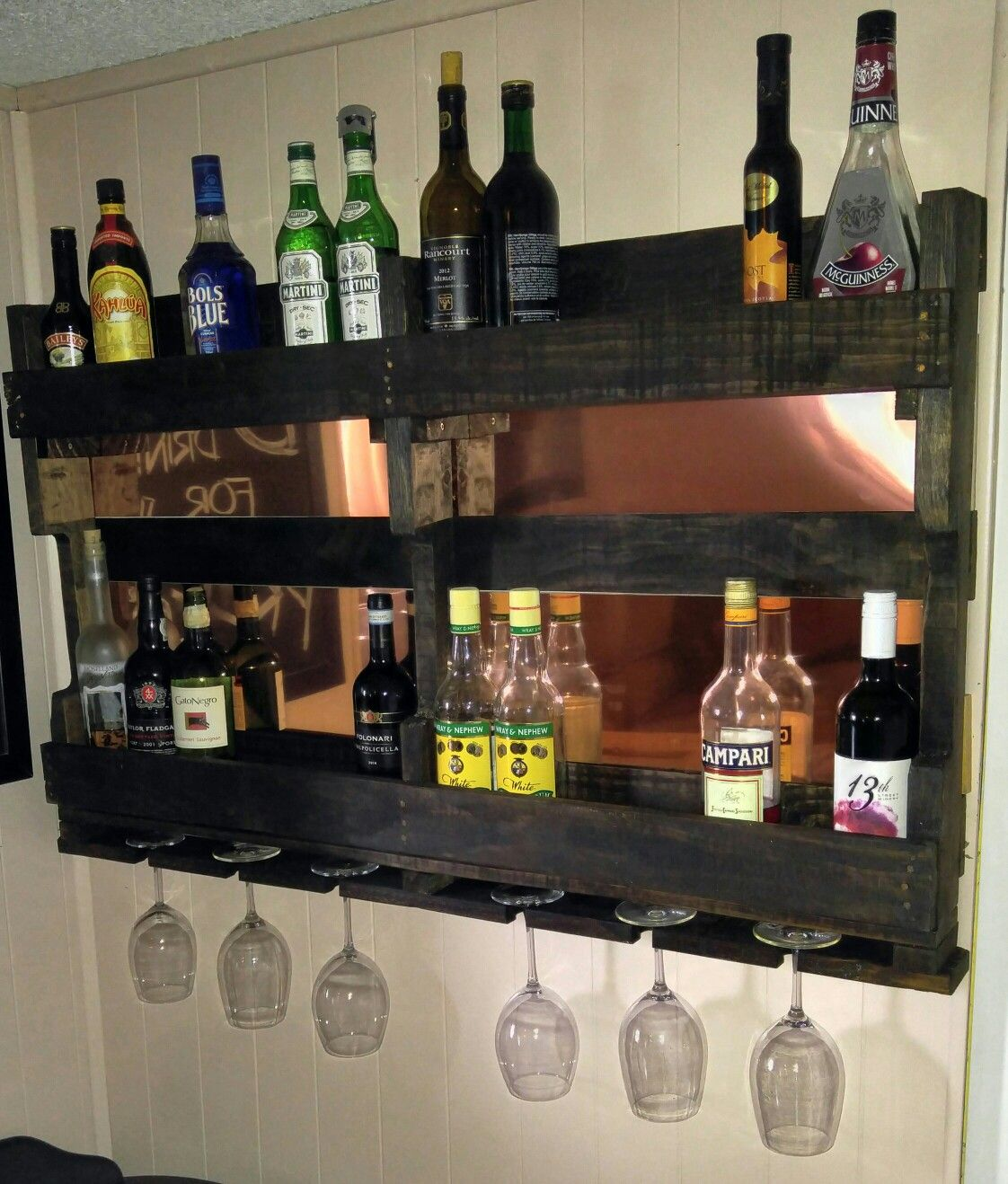Copper Backed Wine Liquor Rack Made By Stevensville Pallet Project