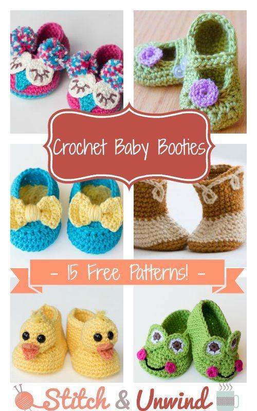 Crochet Baby Booties: 15 Free Patterns | Pinterest | Booties crochet ...