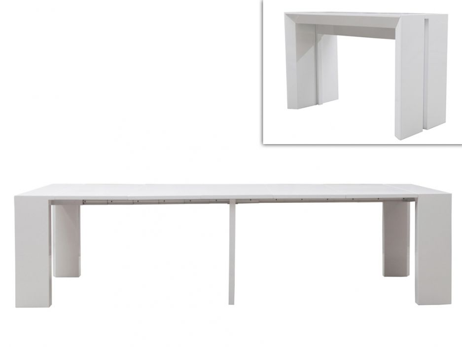 Table extensible blanc laque stunning table extensible - Table laquee blanche extensible ...