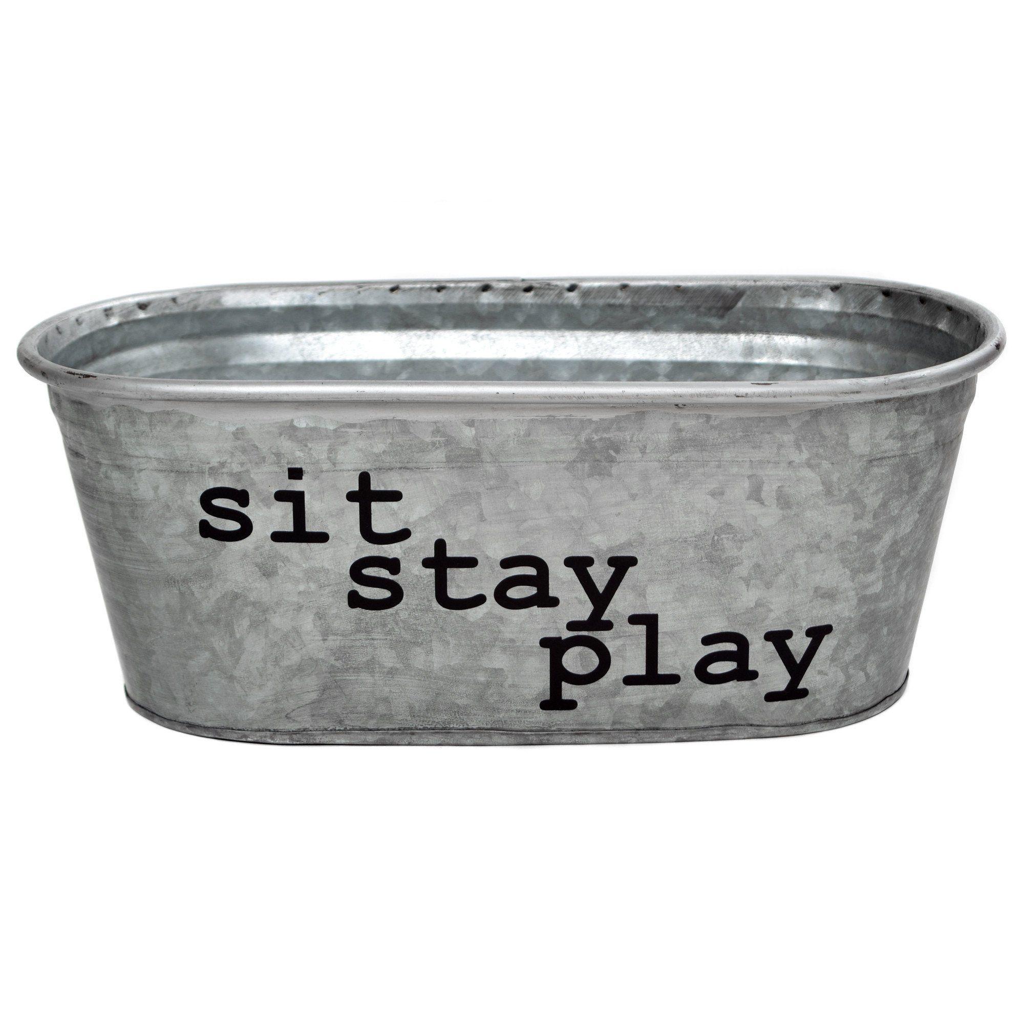 Sit Stay Play Dog Toy Bin Metal Storage Bins Dog Toy Storage